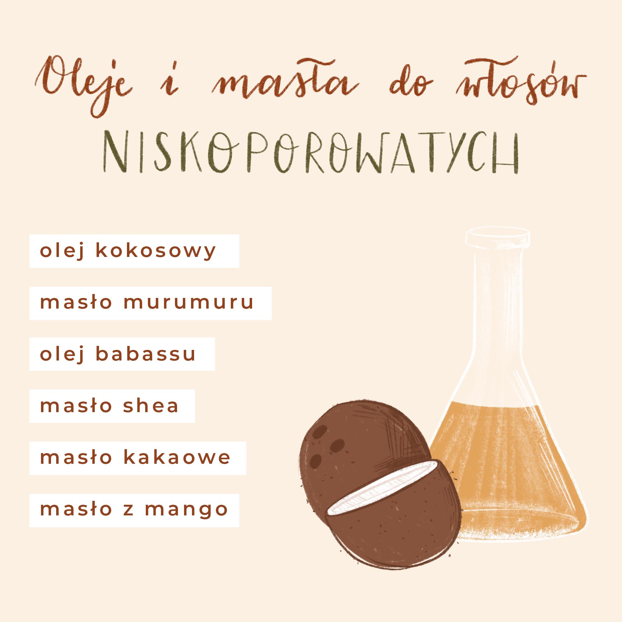 oleje i masła do włosów niskoporowatych, olej kokosowy, olej murumuru, olej babassu, masło shea, masło z mango, masło kakaowe