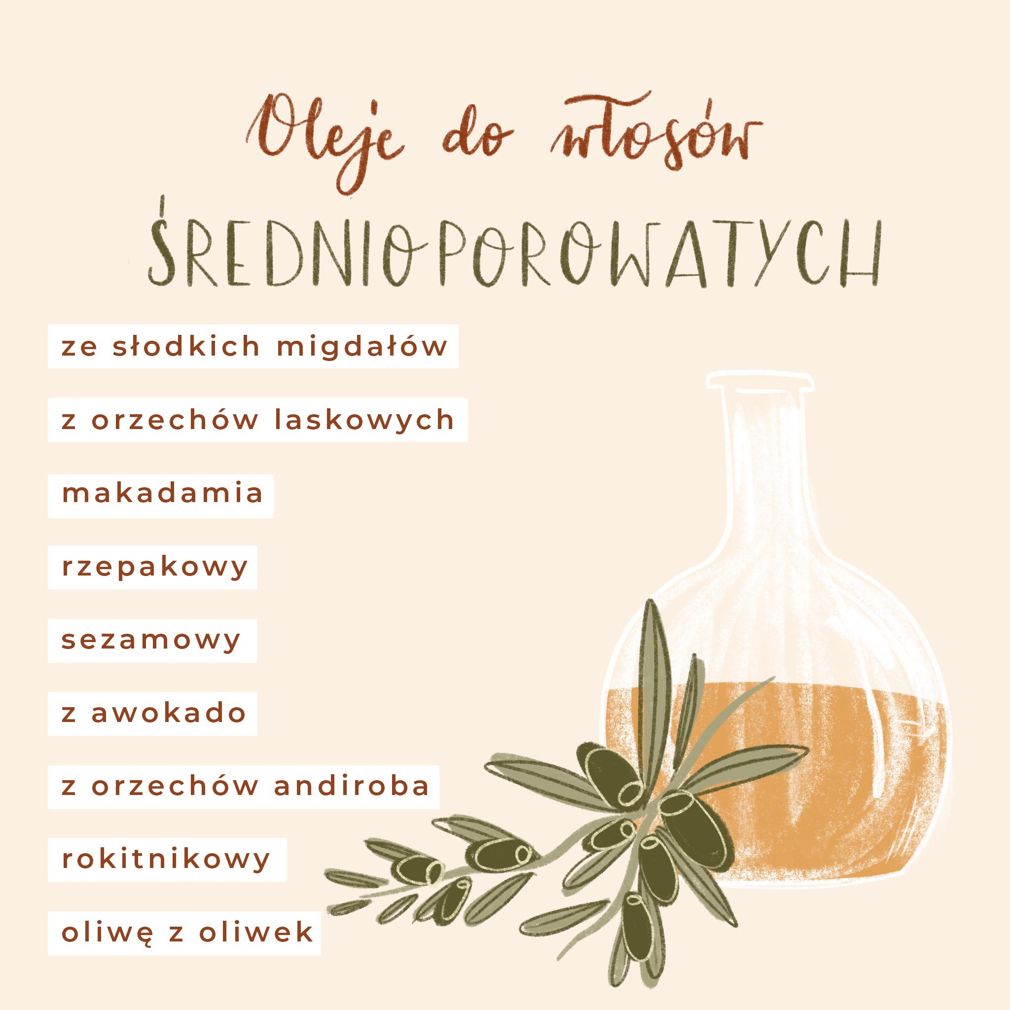 oleje do włosów średnioporowatych, olej ze słodkich migdałów, olej z orzechów laskowych, olej makadamia, olej rzepakowy, olej z awokado